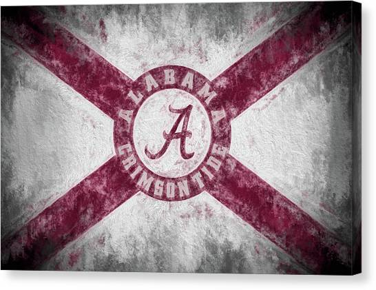 The University Of Alabama Canvas Print - The Crimson Tide State Flag by JC Findley