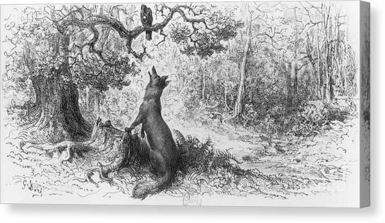 Tree Canvas Print - The Crow And The Fox by Gustave Dore