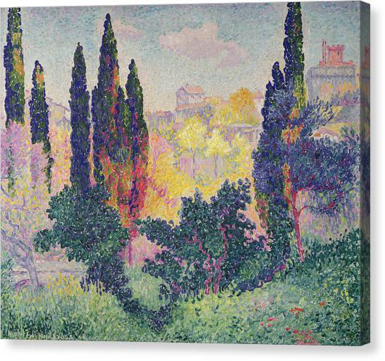 Pointillism Canvas Print - The Cypresses At Cagnes by Henri-Edmond Cross