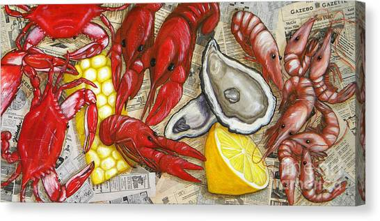 Oysters Canvas Print - The Daily Seafood by JoAnn Wheeler