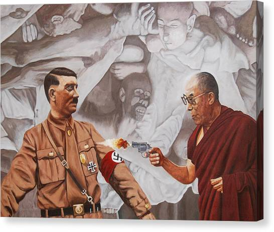 The Dalai Lama Shoots Adolph Hitler Canvas Print by Allan OMarra