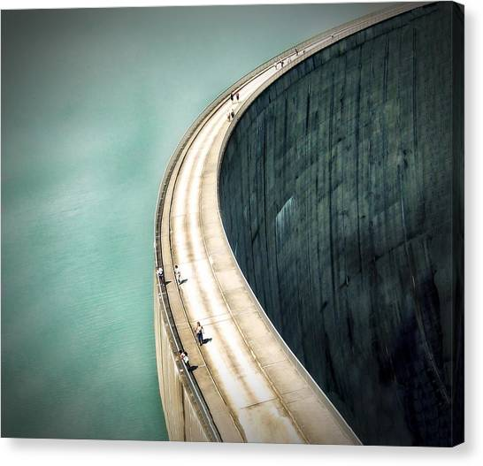 Construction Canvas Print - The Dam ... by Anna Cseresnjes