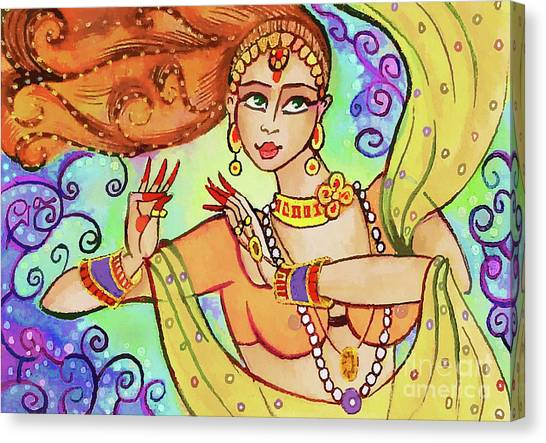 Spiritual Portrait Of Woman Canvas Print - The Dance Of Maya by Eva Campbell