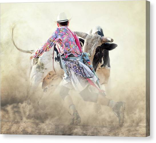 Rodeo Clown Canvas Print - The Dance by Ron McGinnis