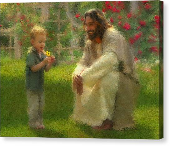 Boy Canvas Print - The Dandelion by Greg Olsen
