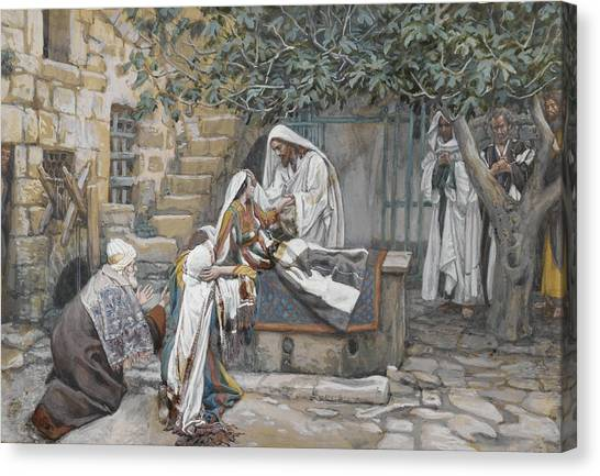 Sick Canvas Print - The Daughter Of Jairus by Tissot