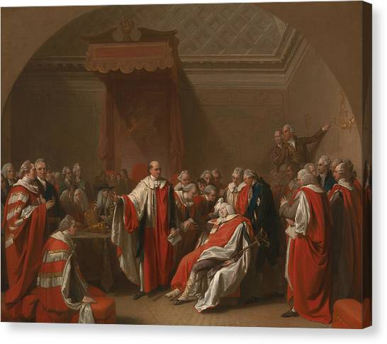 Chatham Canvas Print - The Death Of Chatham by Benjamin West