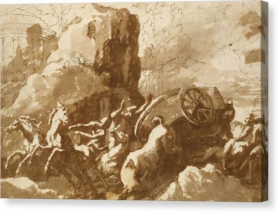 Baroque Canvas Print - The Death Of Hippolytus by Nicolas Poussin