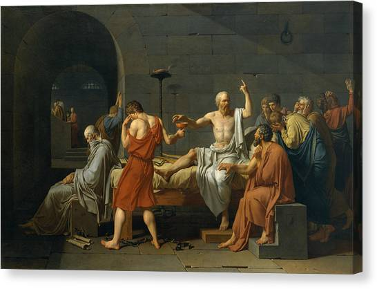 Neoclassical Art Canvas Print - The Death Of Socrates, 1787 by Jacques-Louis David