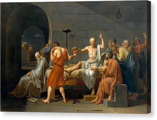 Neoclassical Art Canvas Print - The Death Of Socrates - Jacques-louis David  by War Is Hell Store
