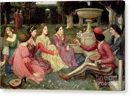 The Crown Canvas Print - The Decameron by John William Waterhouse