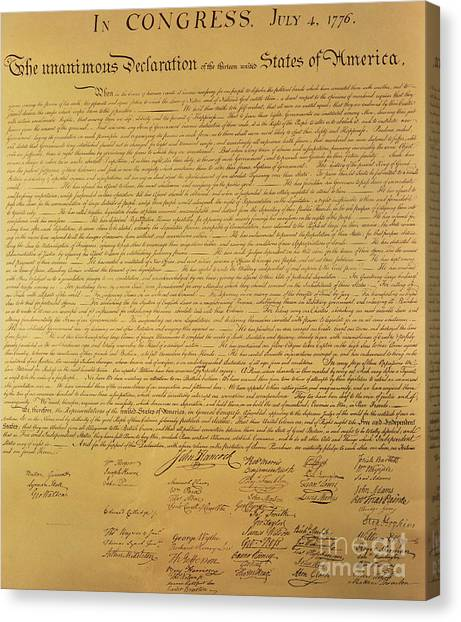 Independence Day Canvas Print - The Declaration Of Independence by Founding Fathers