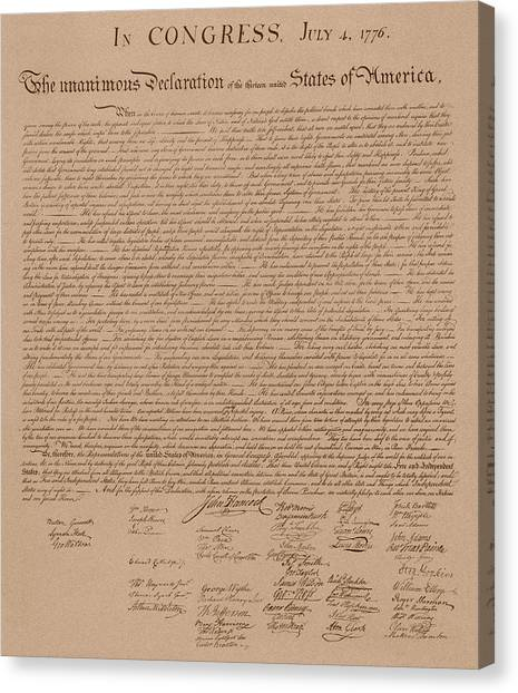 Patriots Canvas Print - The Declaration Of Independence by War Is Hell Store