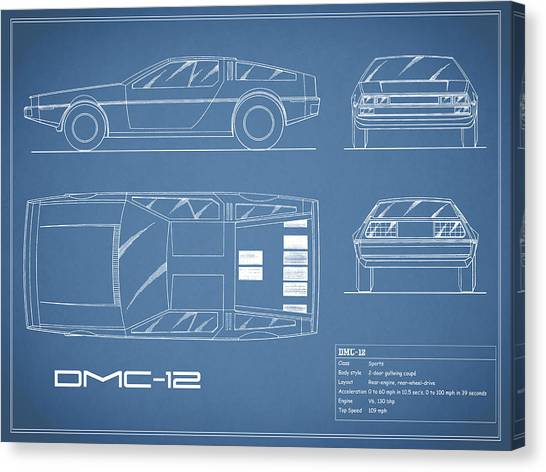 Back To The Future Canvas Print - The Delorean Dmc-12 Blueprint by Mark Rogan