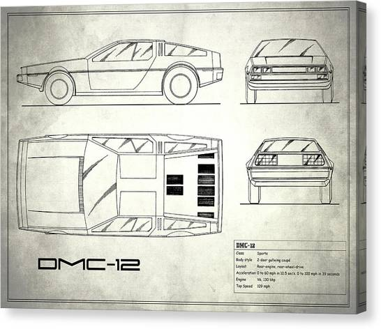 Back To The Future Canvas Print - The Delorean Dmc-12 Blueprint - White by Mark Rogan