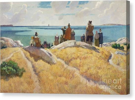 Ocean Cliffs Canvas Print - The Departure Of The Mayflower For England In 1621 by Newell Convers Wyeth