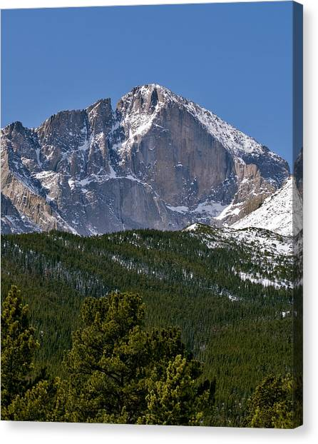 Colorado Rockies Canvas Print - The Diamond On Longs Peak In Rocky Mountain National Park Colorado by Brendan Reals
