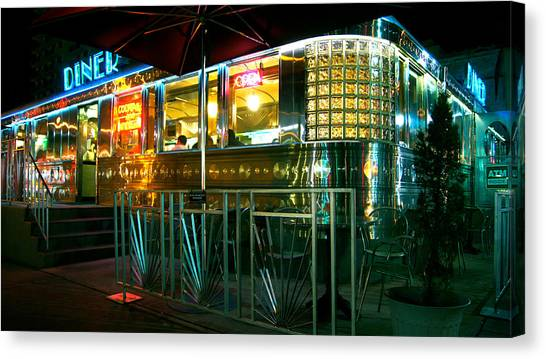 The Diner By Night Canvas Print by Dieter  Lesche