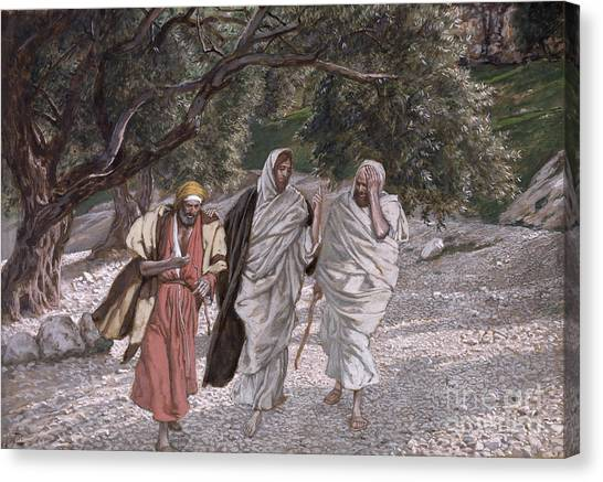 Apparition Canvas Print - The Disciples On The Road To Emmaus by Tissot