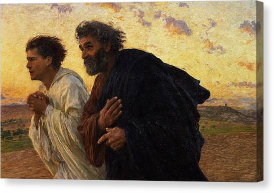 Hand Canvas Print - The Disciples Peter And John Running To The Sepulchre On The Morning Of The Resurrection by Eugene Burnand