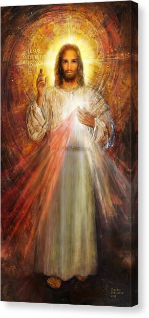 Christian Sacred Canvas Print - The Divine Mercy,  Jesus I Trust In You - 2 by Terezia Sedlakova Wutzay