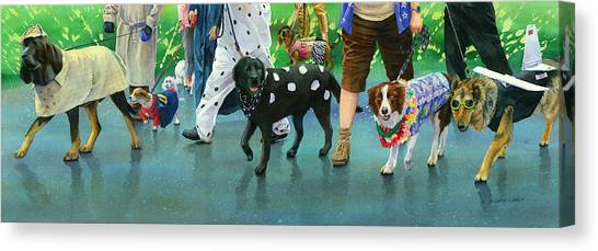 Dalmations Canvas Print - The Dog Parade by Marguerite Chadwick-Juner