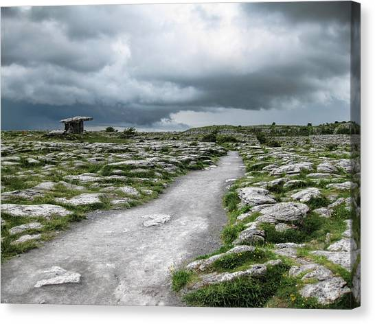 Canvas Print featuring the photograph The Dolmen In The Burren by Menega Sabidussi