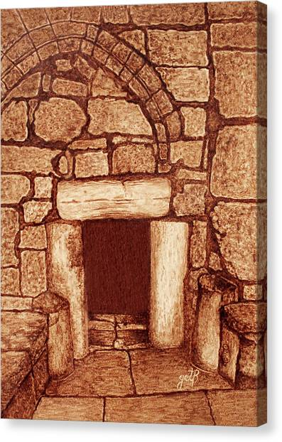 Canvas Print featuring the painting The Door Of Humility At The Church Of The Nativity Bethlehem by Georgeta Blanaru