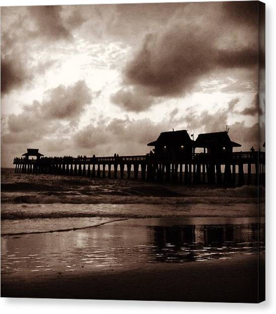 Beach Sunrises Canvas Print - Naples Pier Sepia by Heidi Hermes