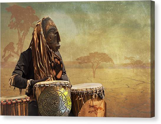 The Dream Of His Drums Canvas Print