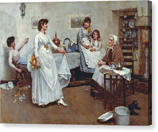 Wedding Gown Canvas Print - The Dress Rehearsal by Albert Chevallier Tayler