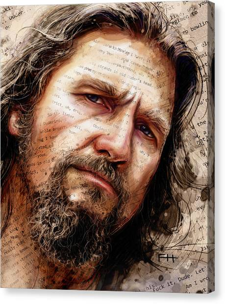 Bowling Canvas Print - The Dude by Fay Helfer