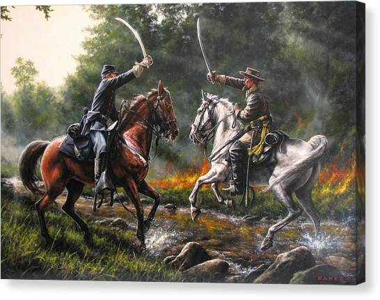 War Horse Canvas Print - The Duel by Dan  Nance