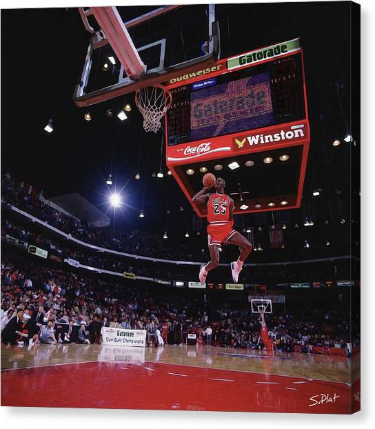 Charlotte Bobcats Canvas Print - Michael Jordan The Dunk by Sebastian Plat