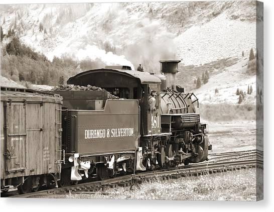 Freight Trains Canvas Print - The Durango And Silverton Into The Mountains by Mike McGlothlen