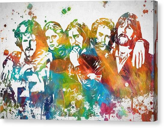 Tequila Sunrise Canvas Print - The Eagles Paint Splatter Tribute by Dan Sproul