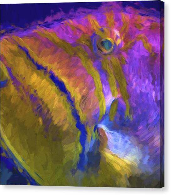 Aquariums Canvas Print - The Early Bird Gets The Worm To Feed by David Haskett II