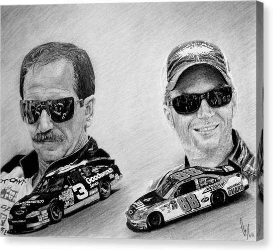 Nascar Canvas Print - The Earnhardts by Bobby Shaw
