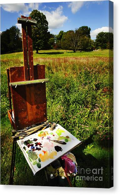 The Easel Canvas Print by Jim  Calarese