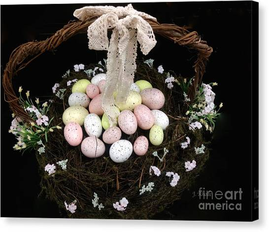 Easter Baskets Canvas Print - The Easter Basket by Jeannie Rhode