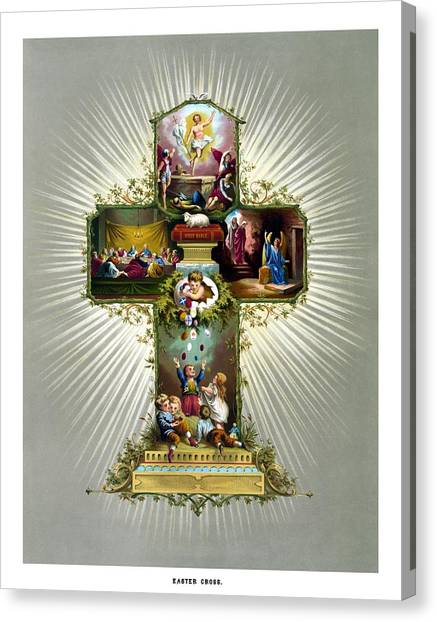 Easter Eggs Canvas Print - The Easter Cross by War Is Hell Store