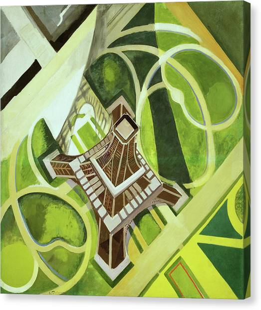 Lyrical Abstraction Canvas Print - The Eiffel Tower And The Garden Of Champ De Mars by Robert Delaunay