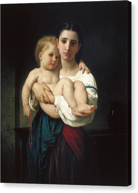 Academic Art Canvas Print - The Elder Sister by Adolphe William Bouguereau