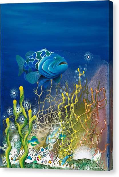 Angel Mermaids Ocean Canvas Print - The Emerald Grouper by Lee Pantas