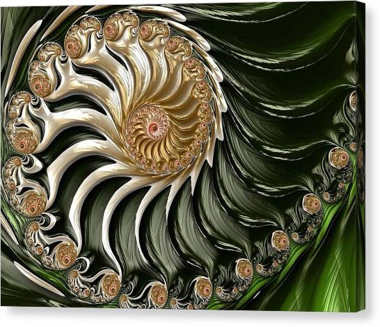 Canvas Print featuring the digital art The Emerald Queen's Nautilus by Susan Maxwell Schmidt