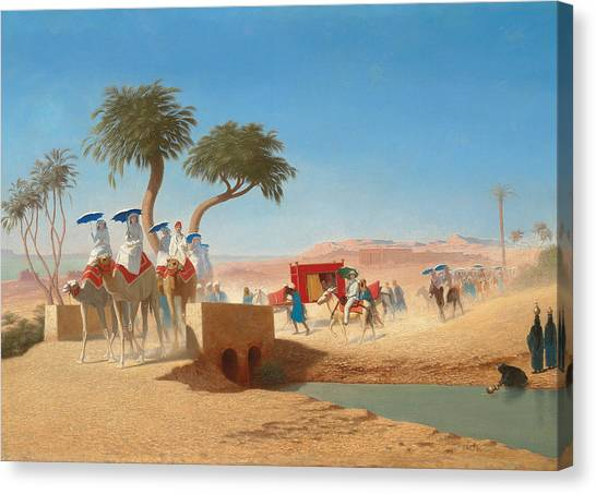 Mirages Canvas Print - The Empress Eugenie Visiting The Pyramids by Charles Theodore Frere