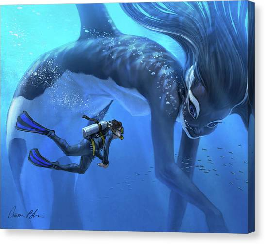 Marines Canvas Print - The Encounter by Aaron Blaise