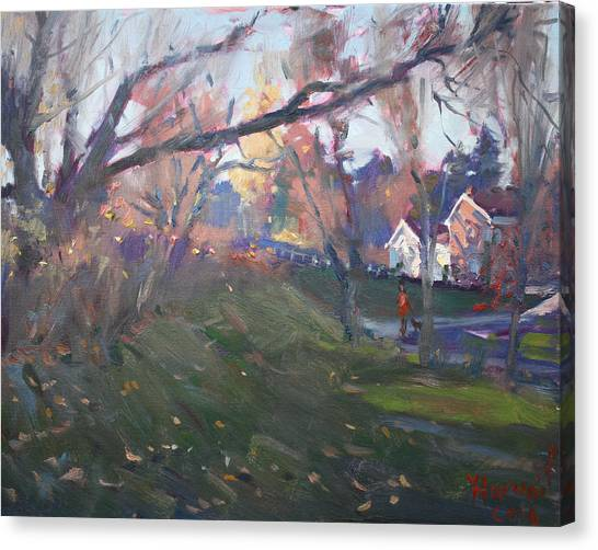 Glen Canvas Print - The End Of Autumn Day In Glen Williams On by Ylli Haruni
