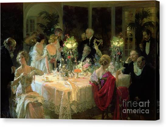 Dinner Table Canvas Print - The End Of Dinner by Jules Alexandre Grun