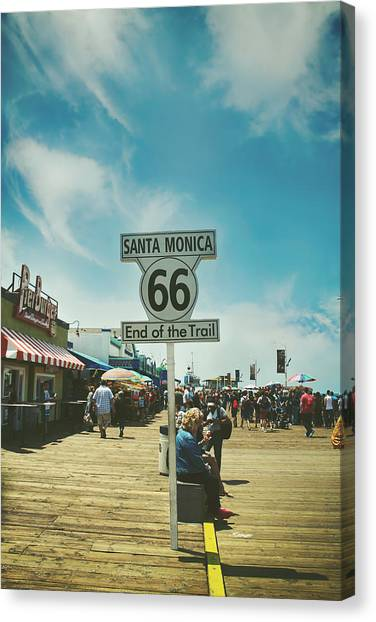Santa Monica Pier Canvas Print - The End Of Sixty-six by Laurie Search